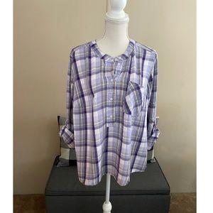 Lane Bryant Purple Plaid Flannel Top Size 20
